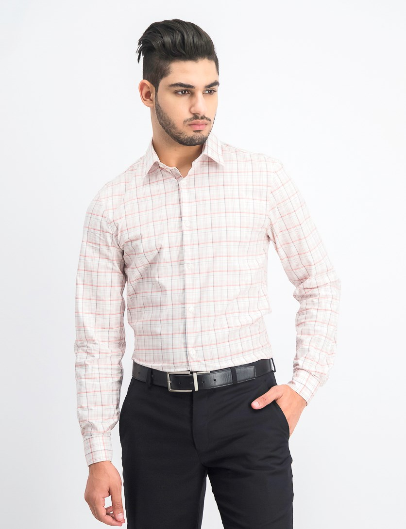 Men's Plaid Extreme Slim Fit Stretch Dress Shirt, Pink