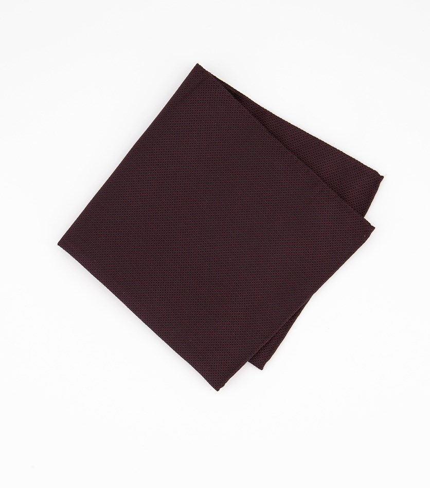 Men's Silk Textured Pocket Square Handkerchief, Dark Red