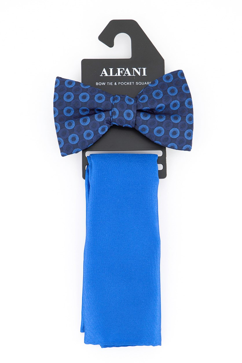 Men's Geometric Pre-Tied Bow Tie & Solid Pocket Square Set, Royal Blue
