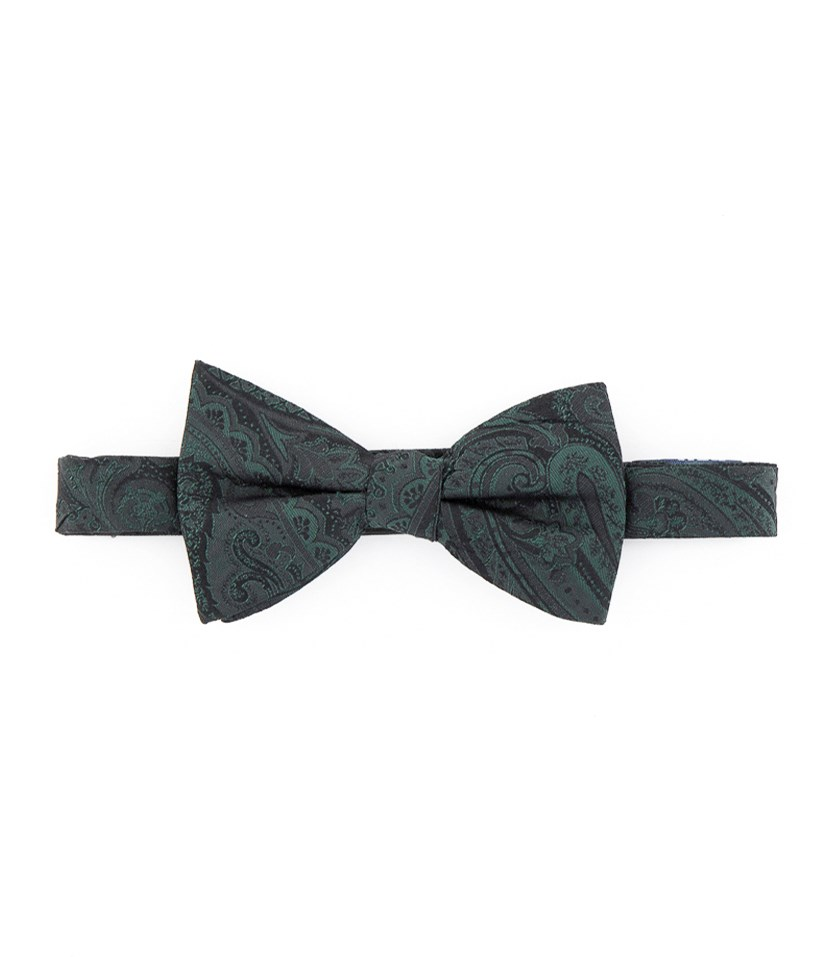 Men's Dover Silk Business Bow Tie, Green/Black