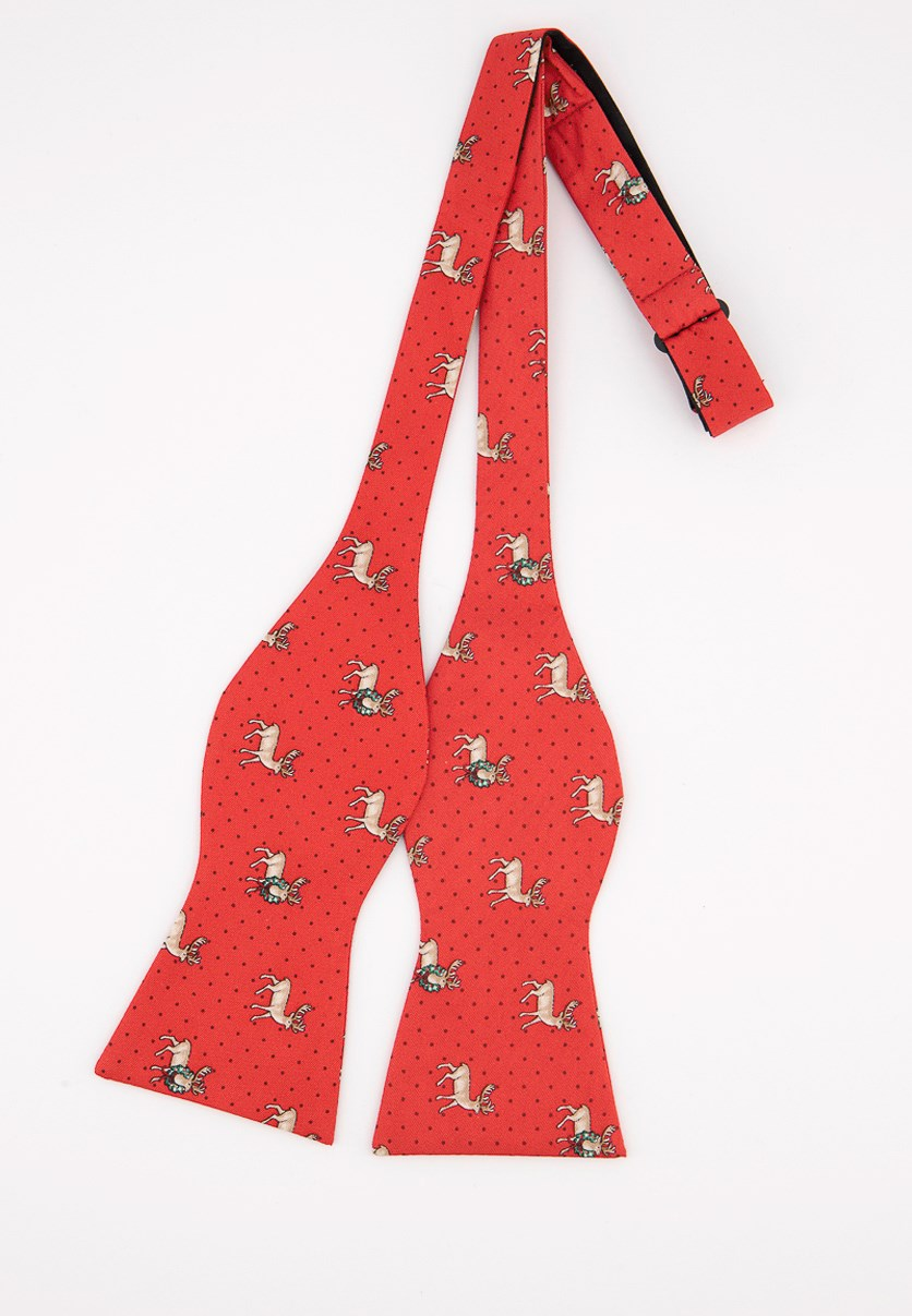 Men's Holiday Reindeer To-Tie Silk Bow Tie, Red