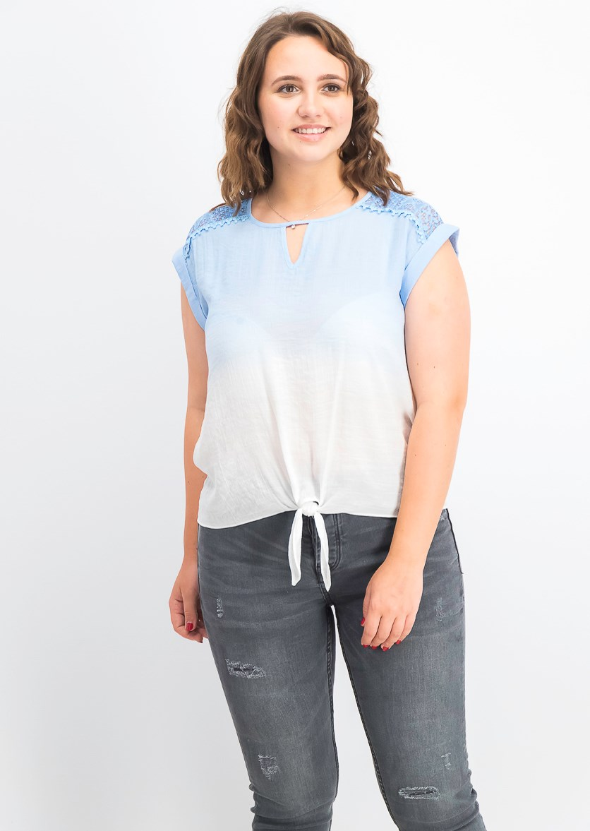 Juniors' Lace-Trimmed Ombre Tie-Front Blouse, Sky Blue