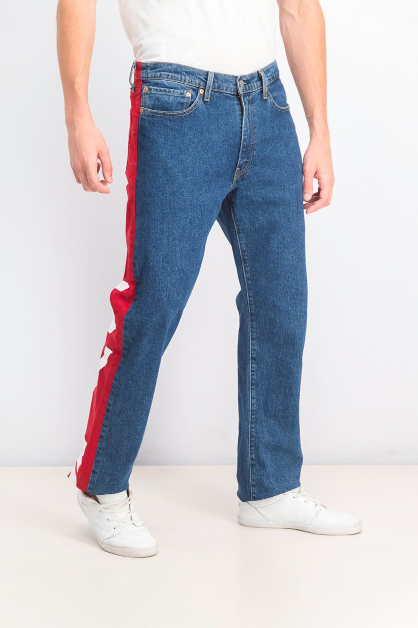 Men's 541 Athletic Taper Colorblock  Jeans, Wash Blue/Red