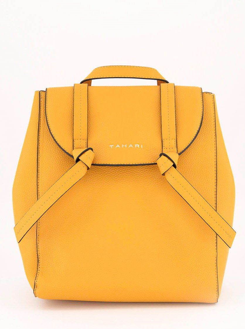 Women's  Knotty Pebbled Faux Leather Backpack, Mustard