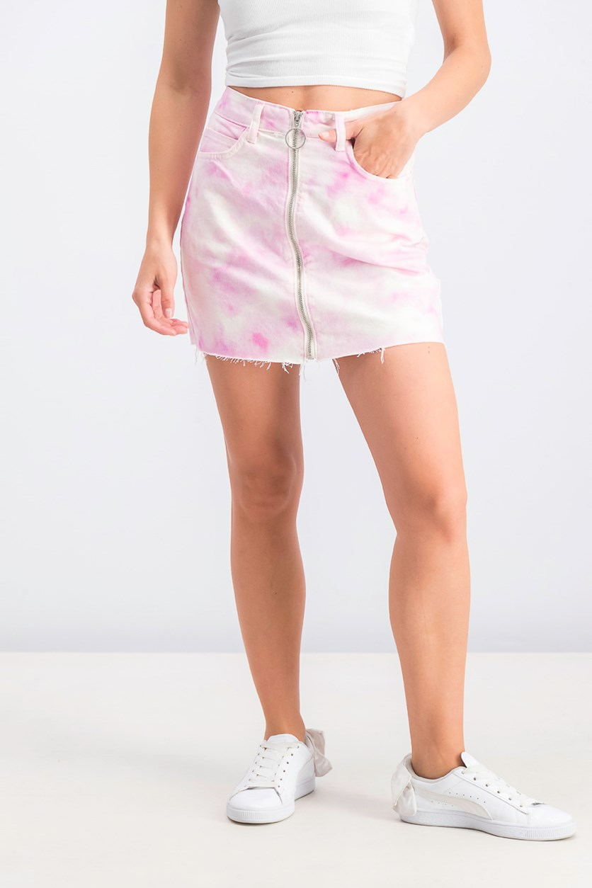 Women's Zipper Fly Mini Skirt, Pink Wash