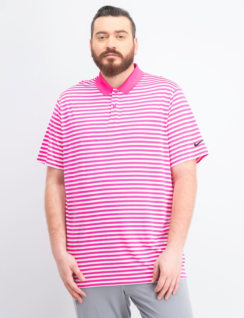 Men's Dry Victory Striped Golf Polo, Pink/White