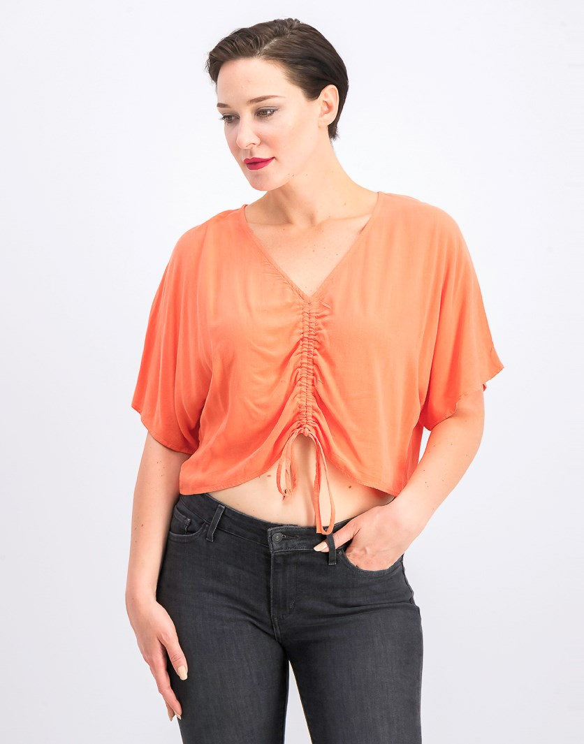 Women's V-Neck With Front Drawstring Top, Orange