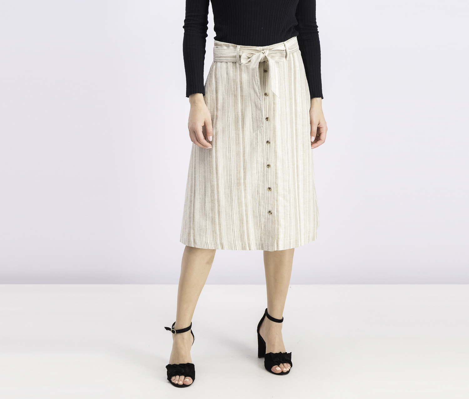 Women's Striped Button-Front Midi Skirt, Nude Stone