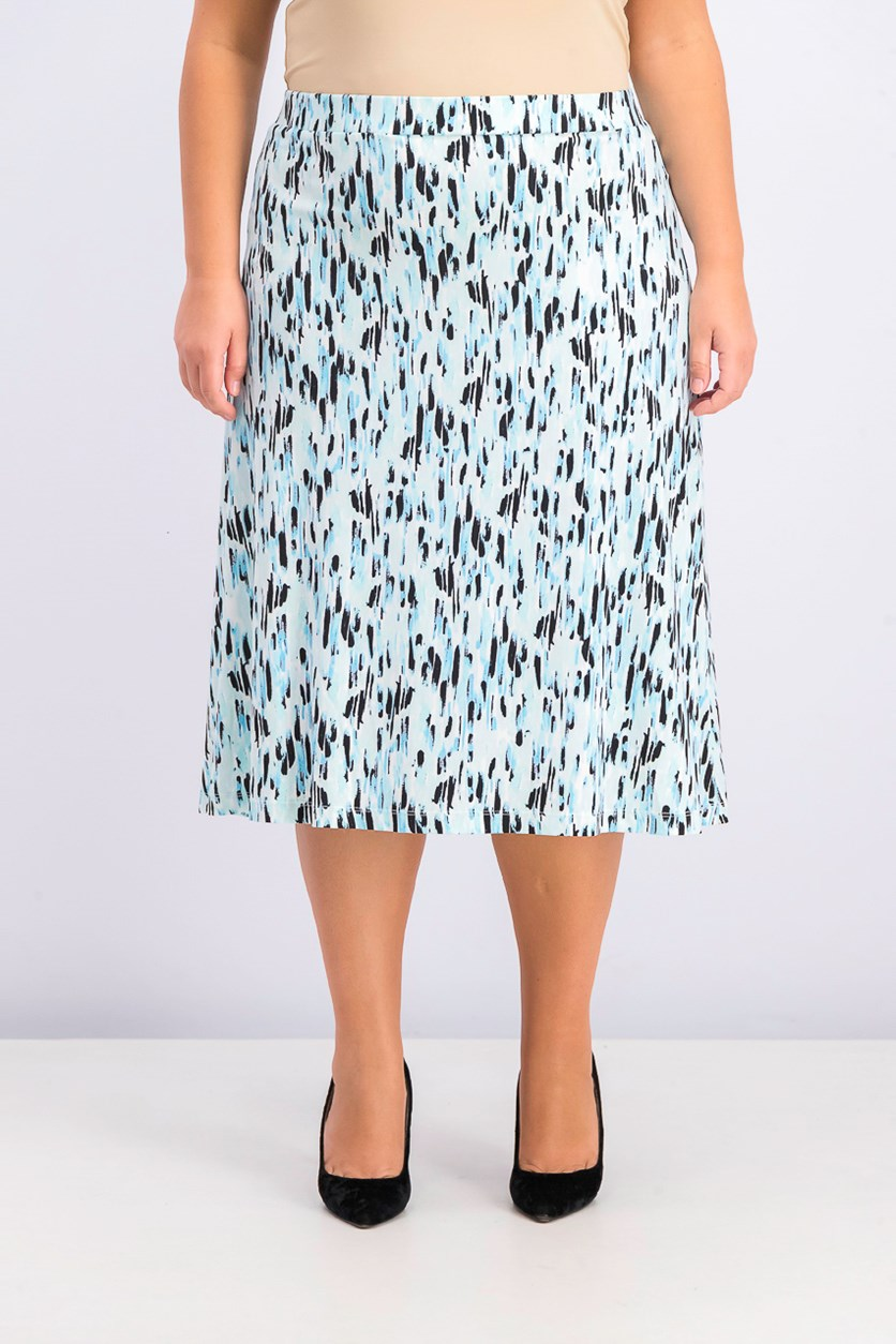 Women's Plus Size Raindrops A-Line Skirt, Sea Glass