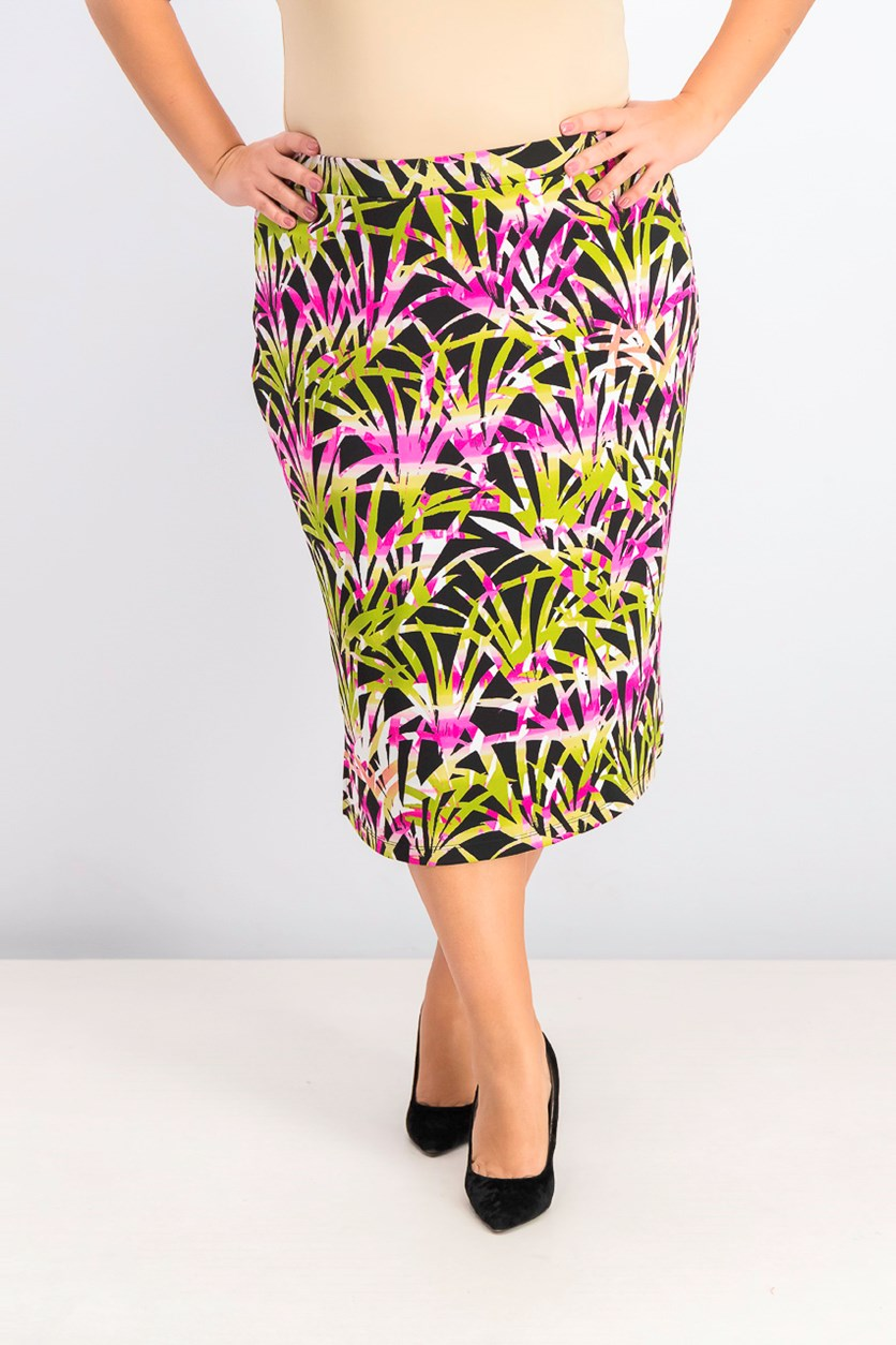 Women's Plus Size Printed Pull-on Skirt, Green/Black/Pink