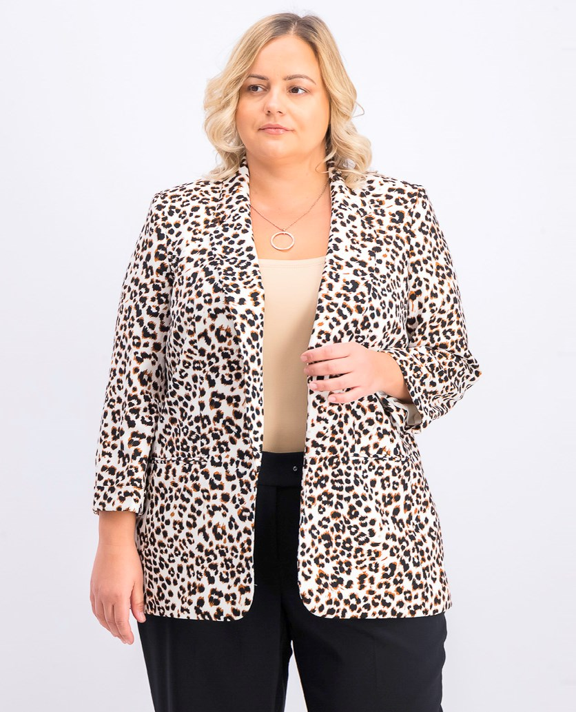 Women's Plus Size Cheetah-Print Blazer, Pearl/Brown/Black