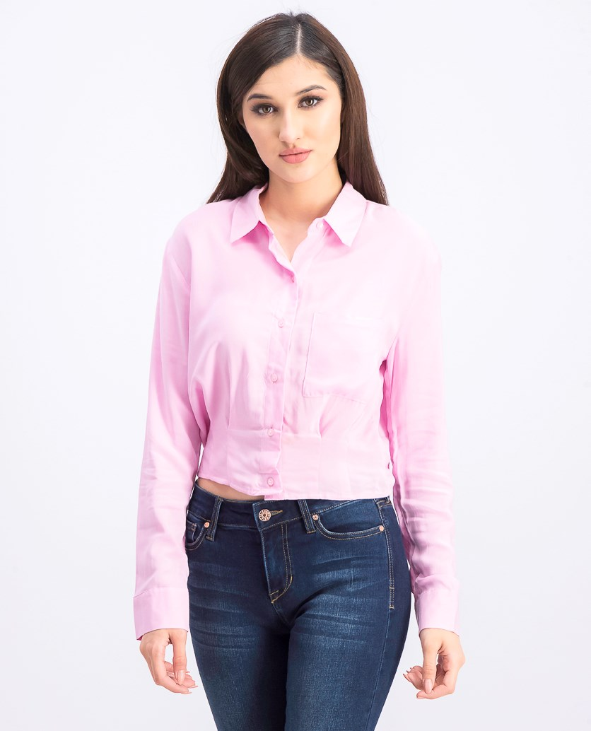 Women's Tailored With Pocket Shirt, Pink
