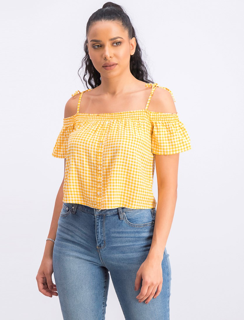 Women's Off-Shoulder Checkered Cropped Top, Yellow