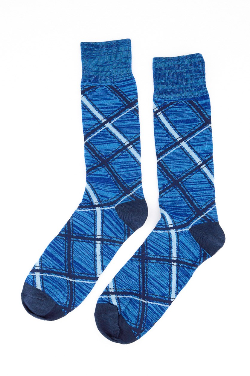 Men's Plaid Socks, Navy