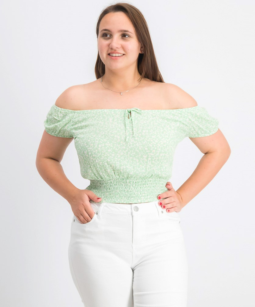 Women's Floral Off-Shoulder Cropped Top, Green Combo