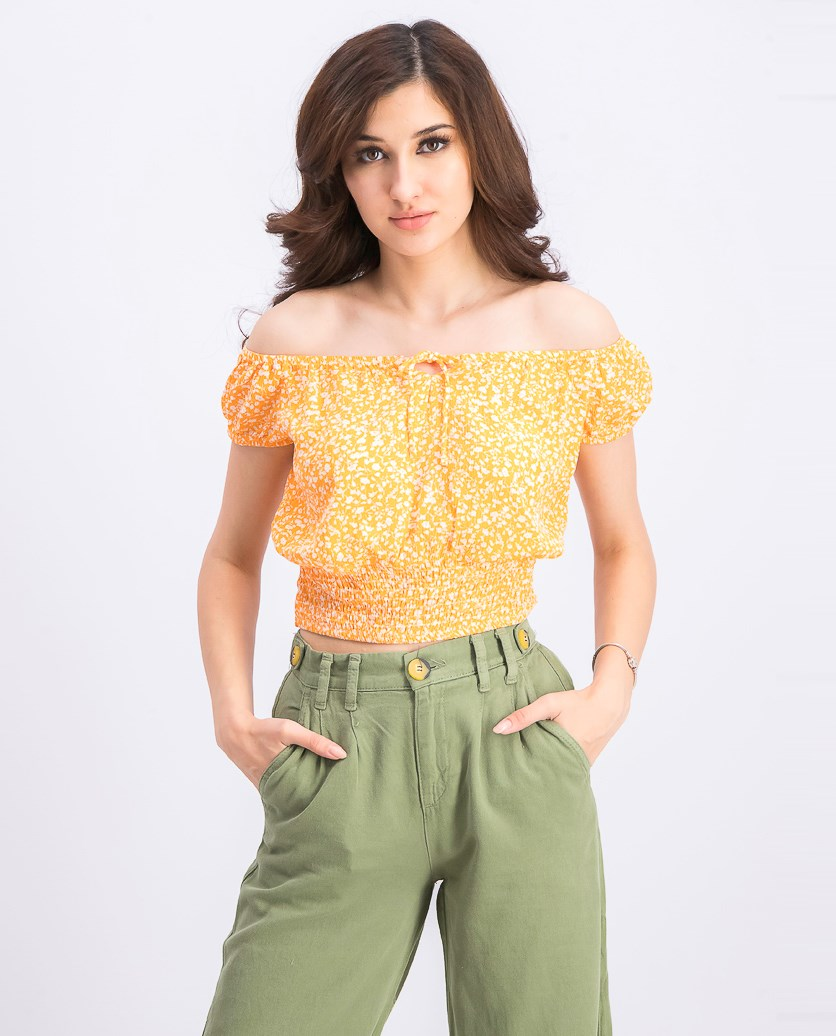 Women's Floral Crop Top, Orange/White