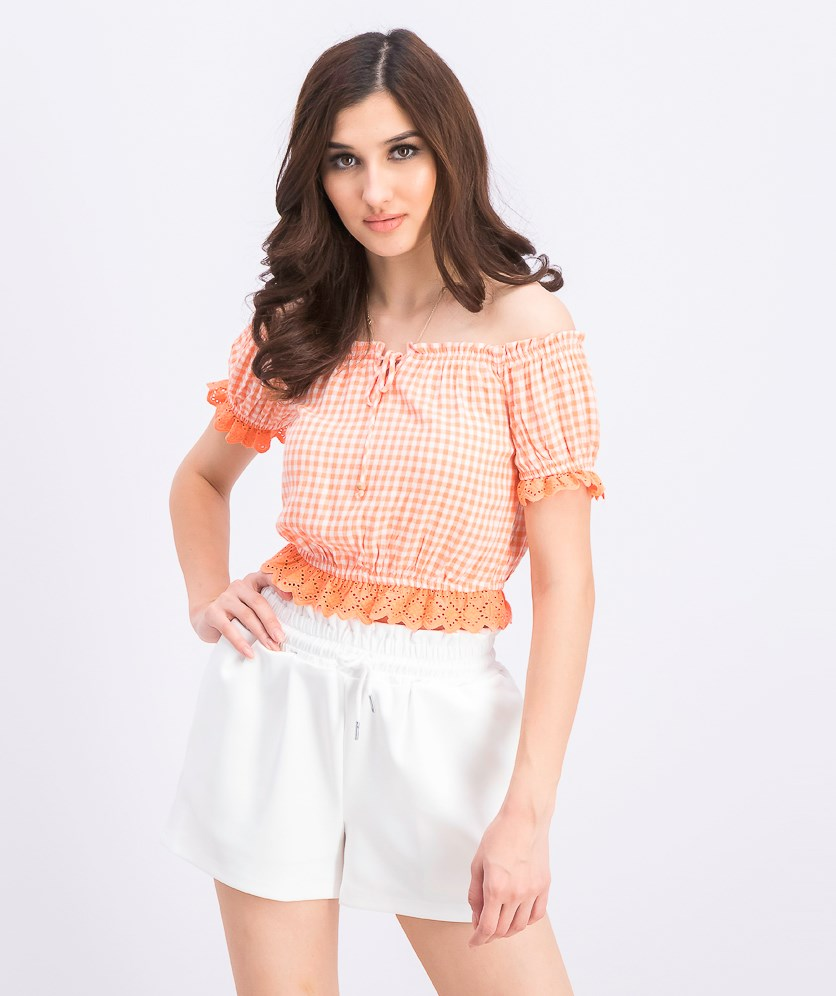 Women's Gingham Crop Top Hem, Orange