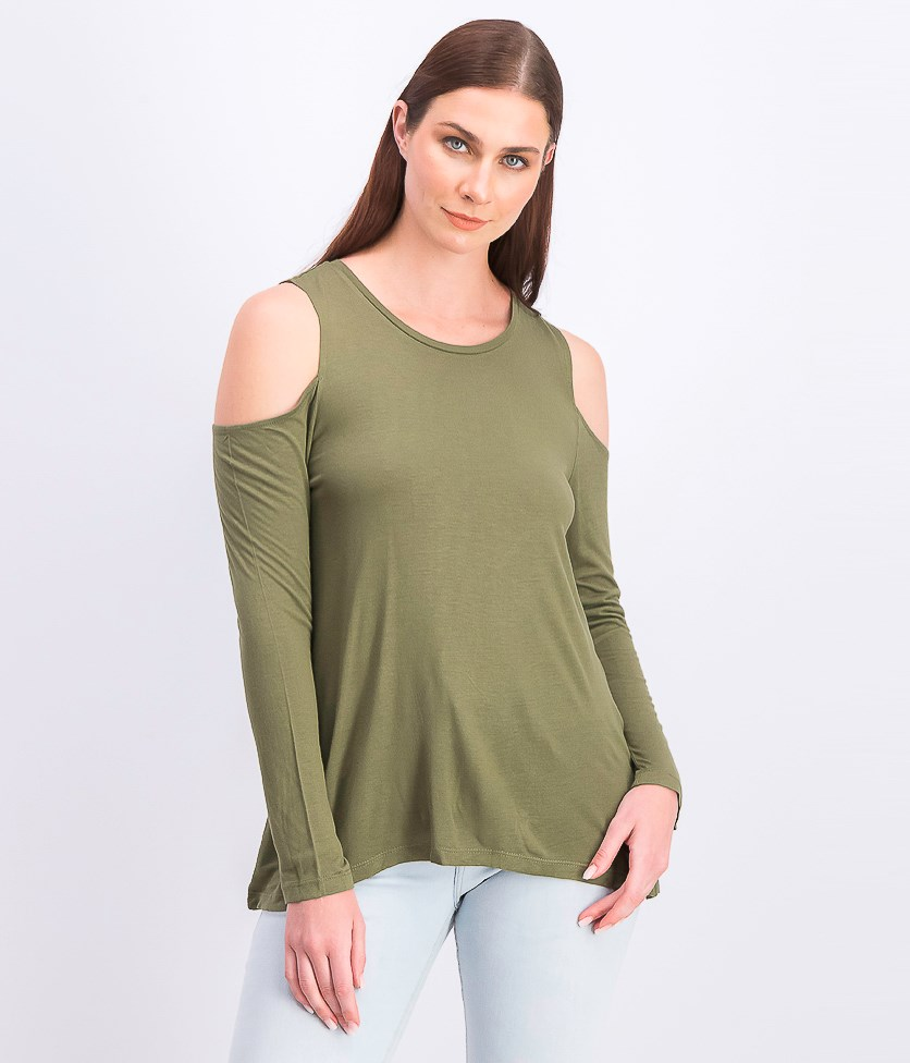 Womens Long Sleeve Top, Olive