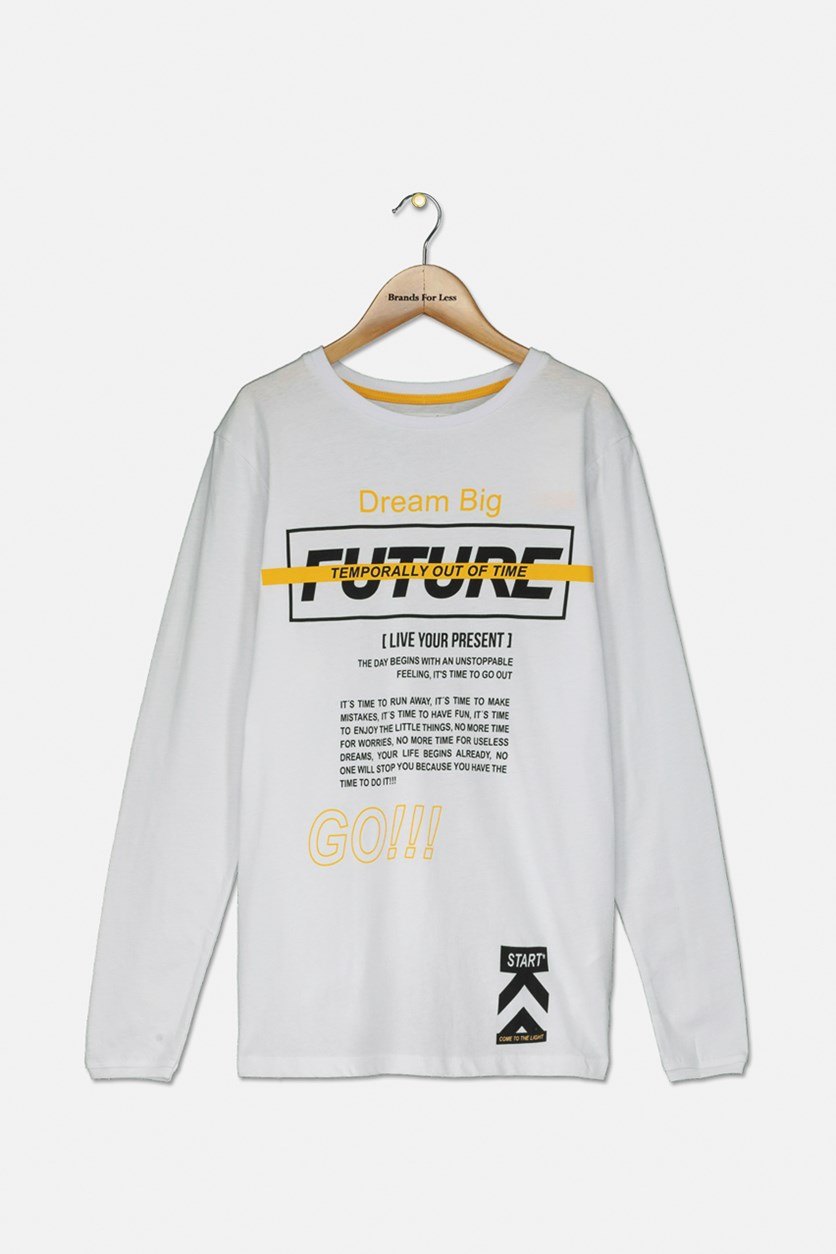 Boy's Long Sleeve Graphic Printed T-shirt, White