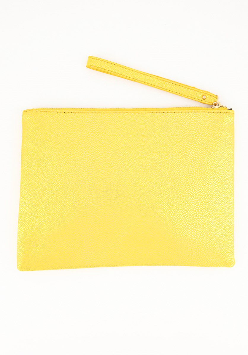Women's Textured Pattern Cosmetic Pouch, Yellow