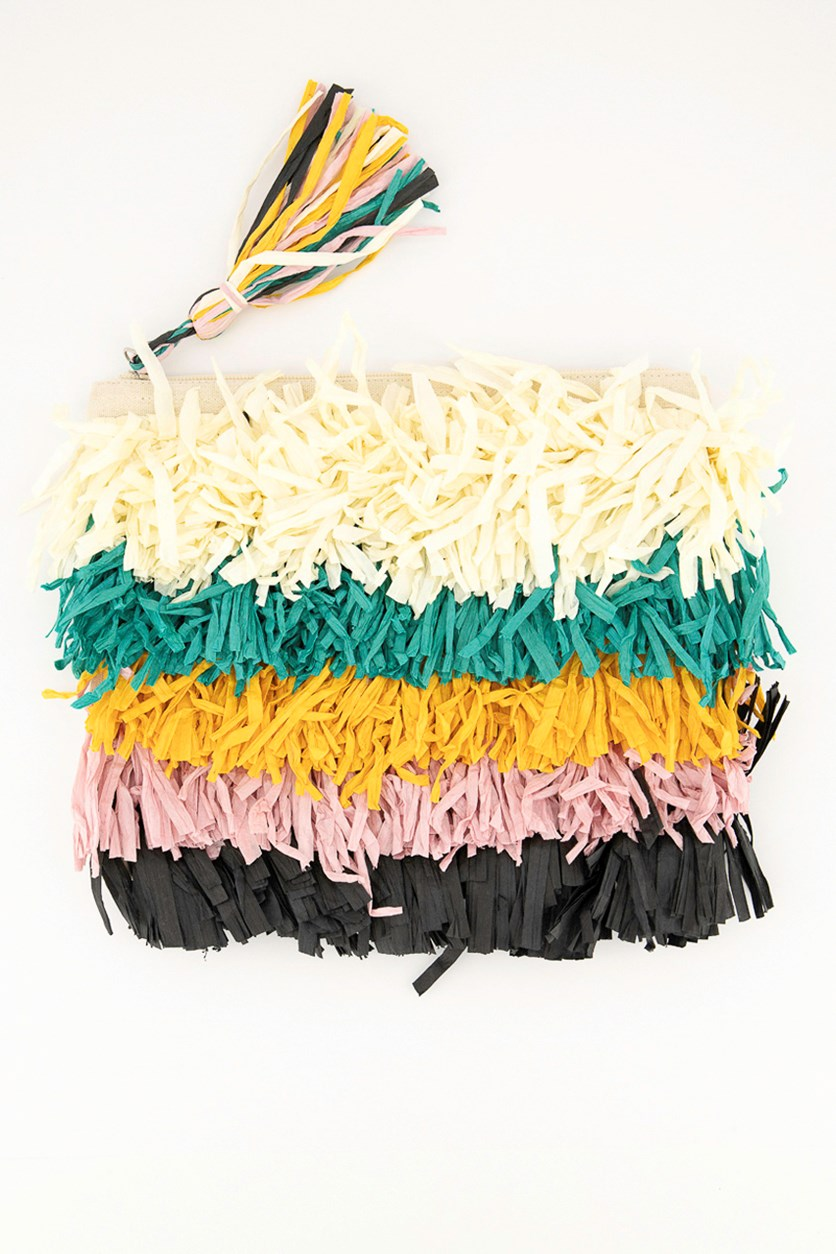 Women's Colorful Textured Pattern Cosmetic Pouch, Off White/Green/Yellow/Pink/Black