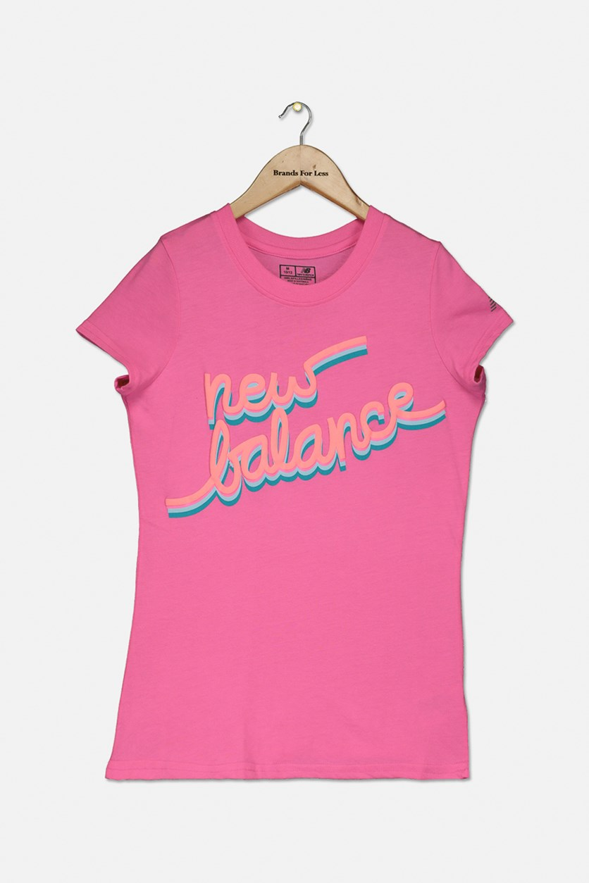 Girls Short Sleeve Graphic Tee, Peo Pink