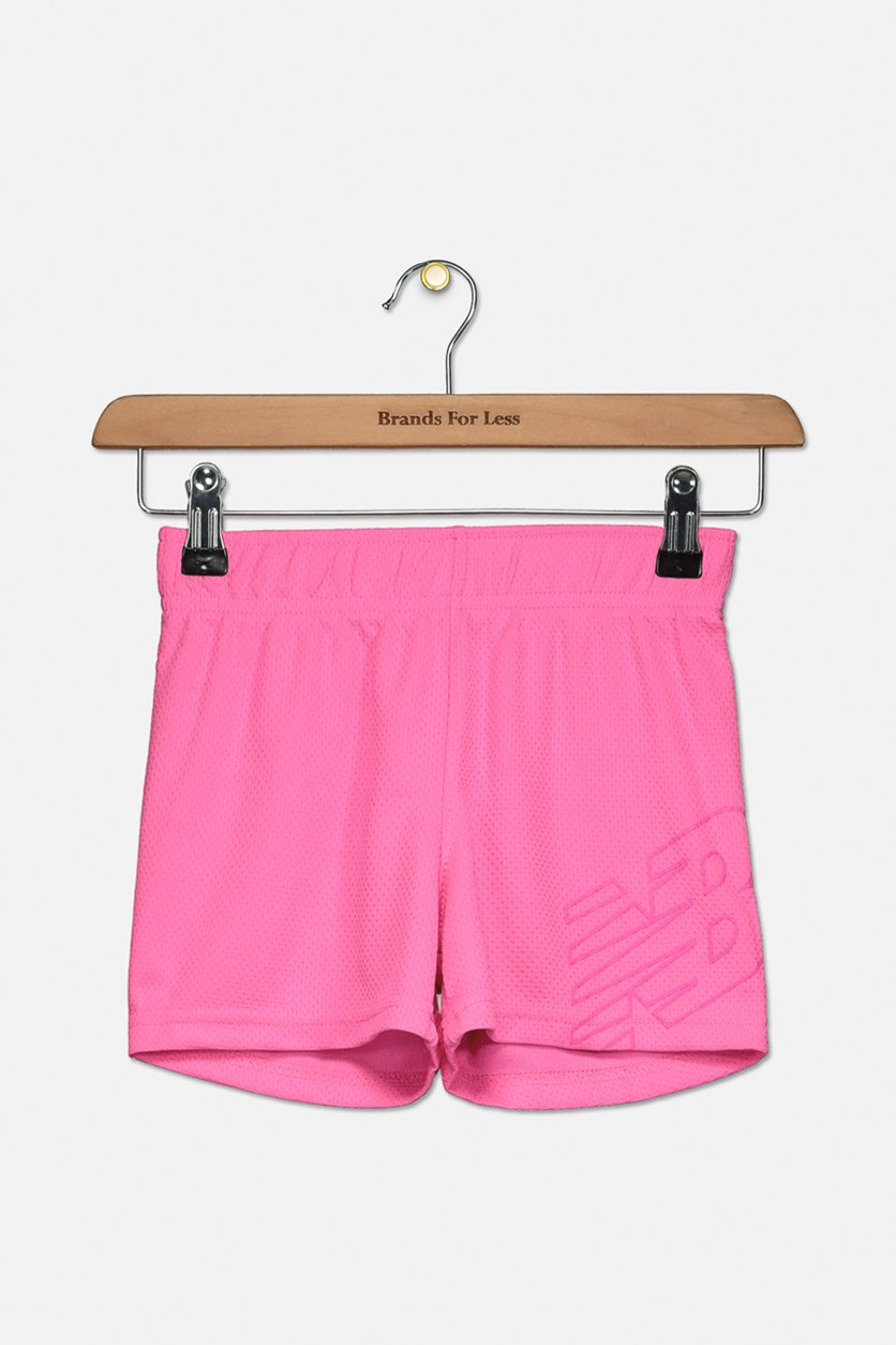 Little Girl's Core Shorts, Neon Pink