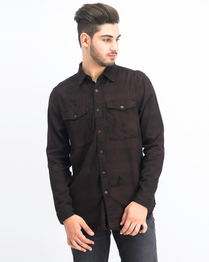 Men's Chest Pocket Distress Casual Shirt, Maroon