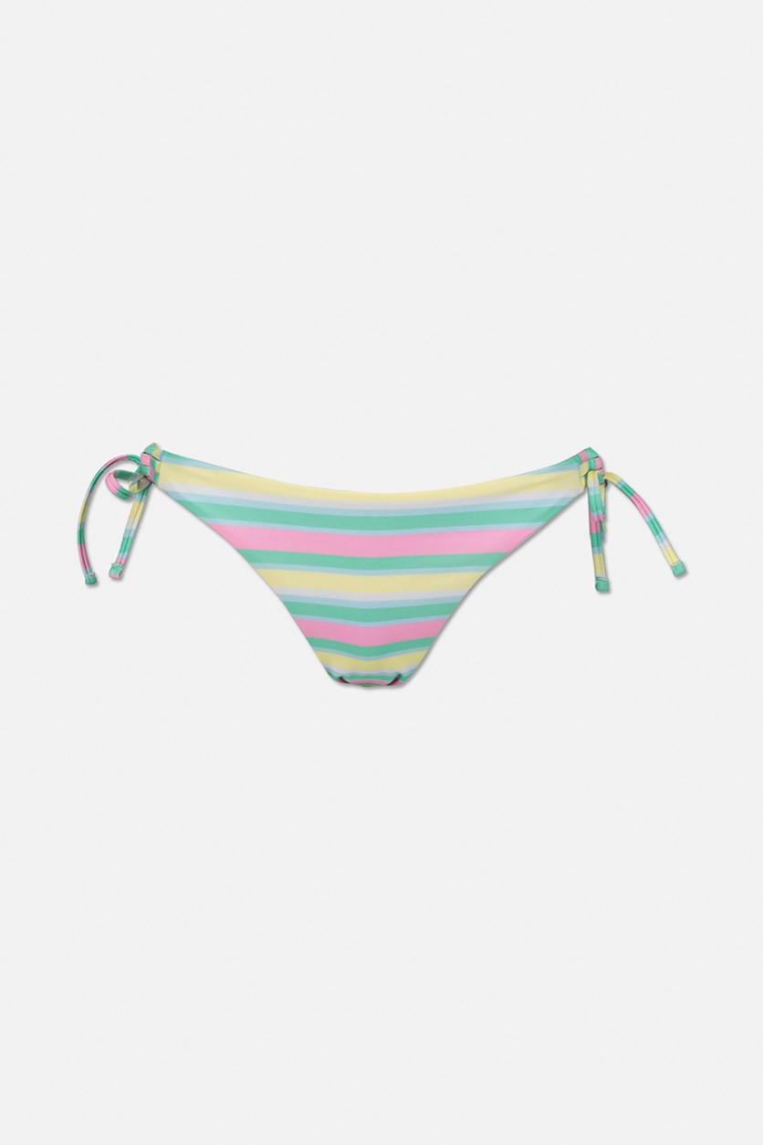 Women's Stripes Bikini Swimwear, Mint Green/Pink/Yellow