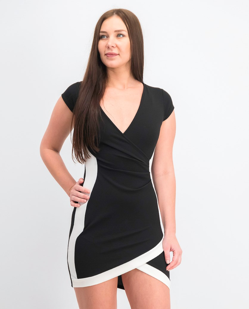 Women's Framed Wrap Dress, White/Black