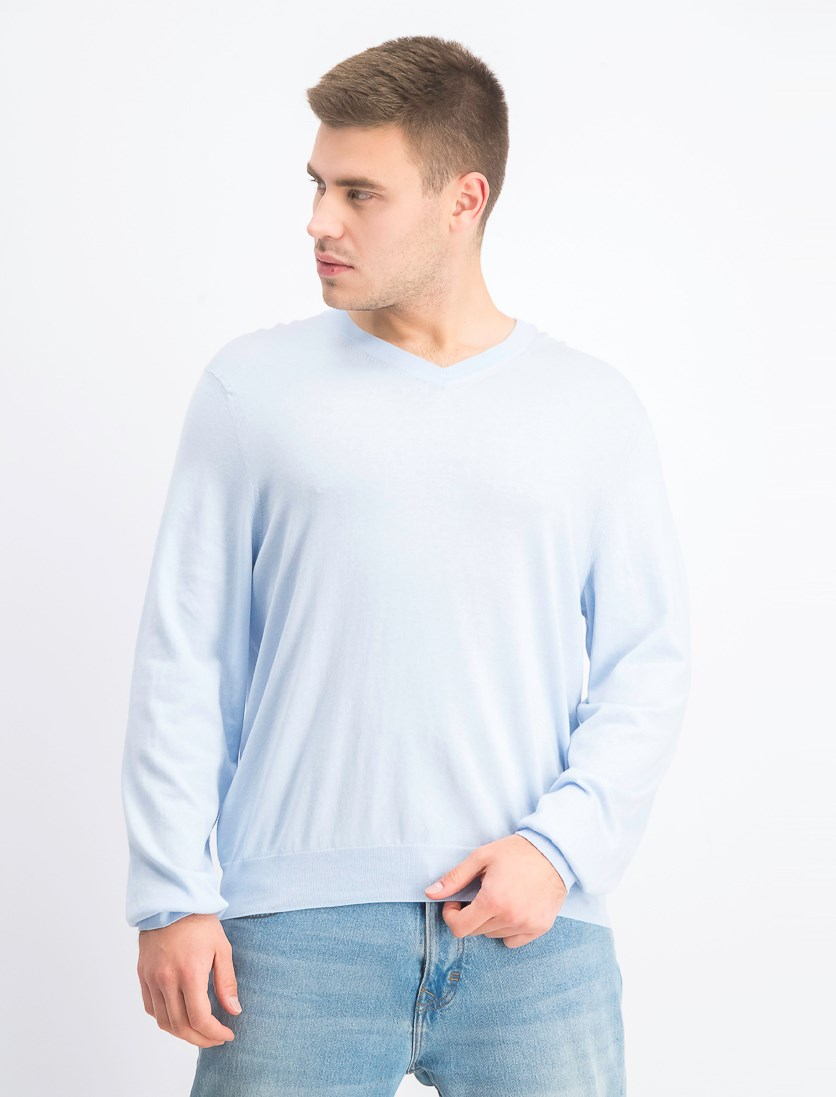 Men's Store at Bloomingdale's V-Neck Cotton-Cashmere Sweater, Cool Blue