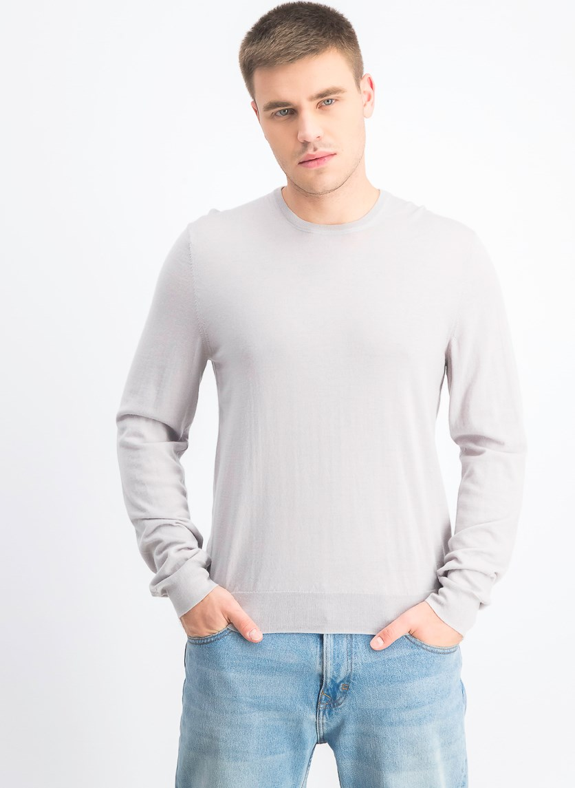 Men's Cashmere Crewneck Sweater, Grey