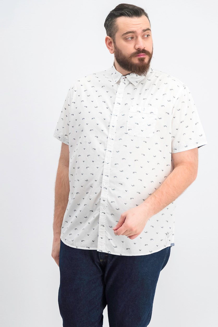 Men's Shark Print Short Sleeve Shirt, White