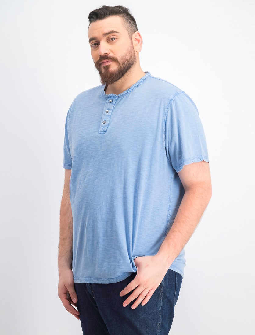 Men's Half Button T-Shirt, Light Blue