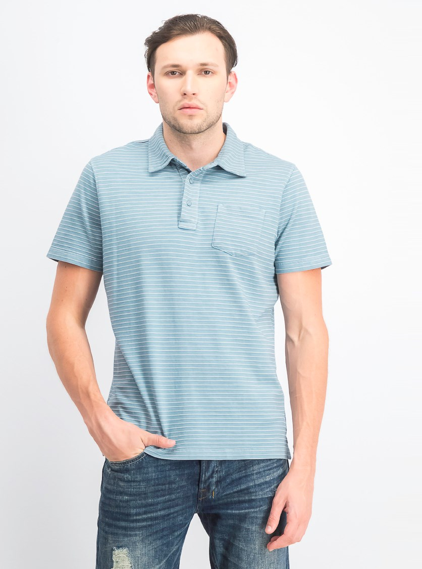 Men's Stripe Short Sleeves Polo Shirt, Mineral Blue