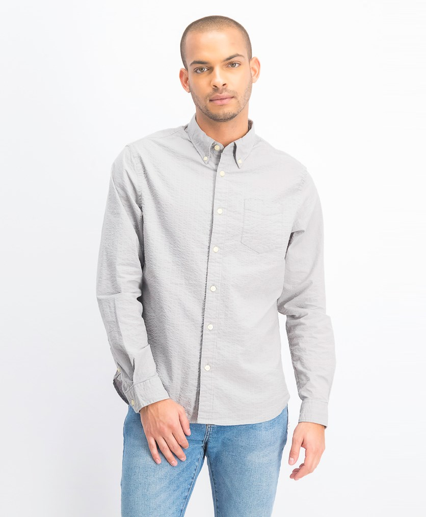 Men's Nepal Stretch Seersucker Shirt, Grey