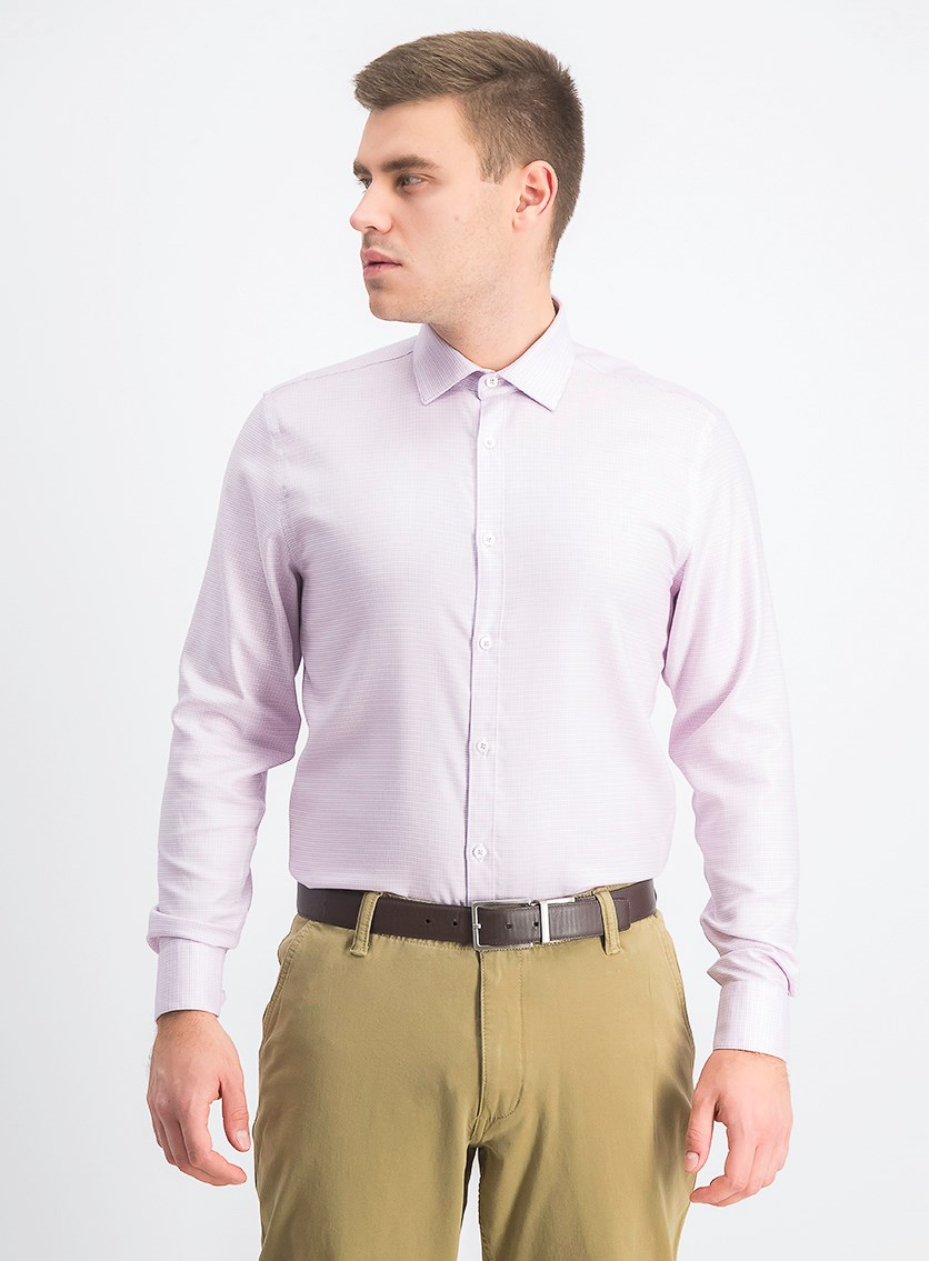 Men's Ultimate Slim-Fit Non-Iron Performance Stretch Dress Shirt, Rose Dobby