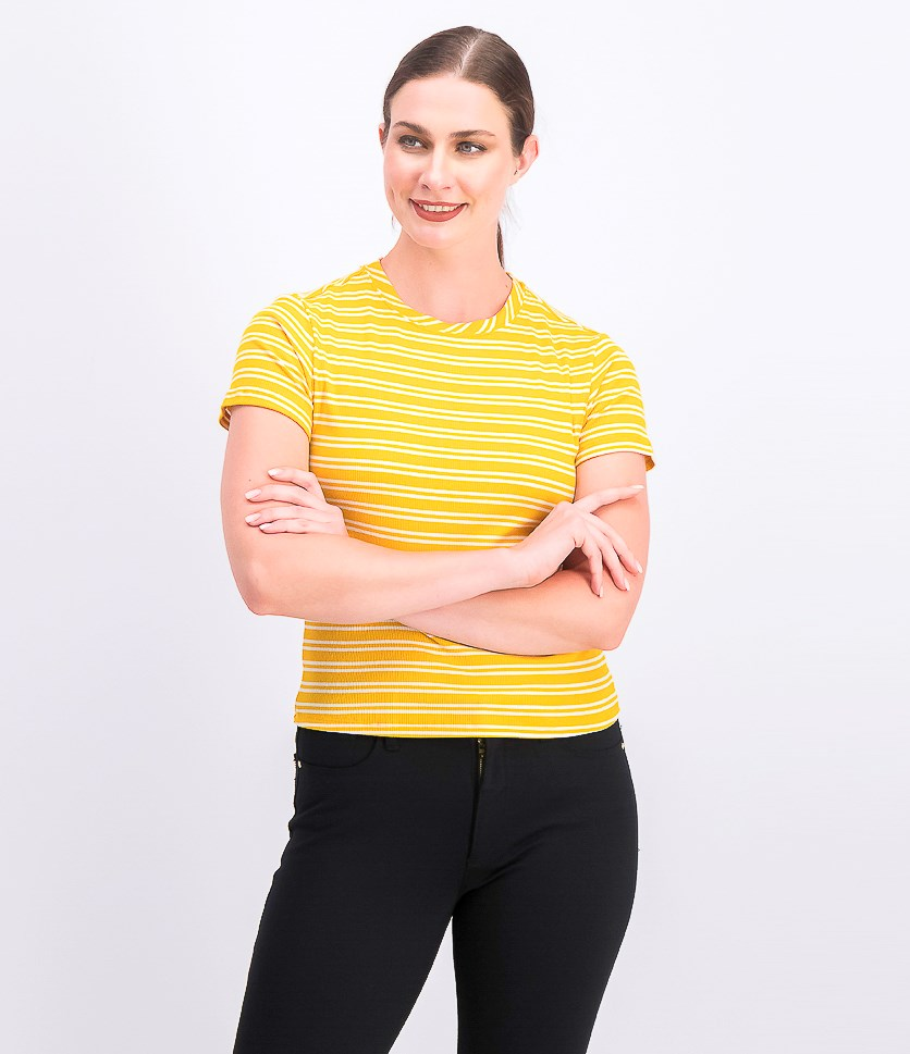 Women's Juniors' Rib-Knit Crew-Neck T-Shirt, Yellow Stripe