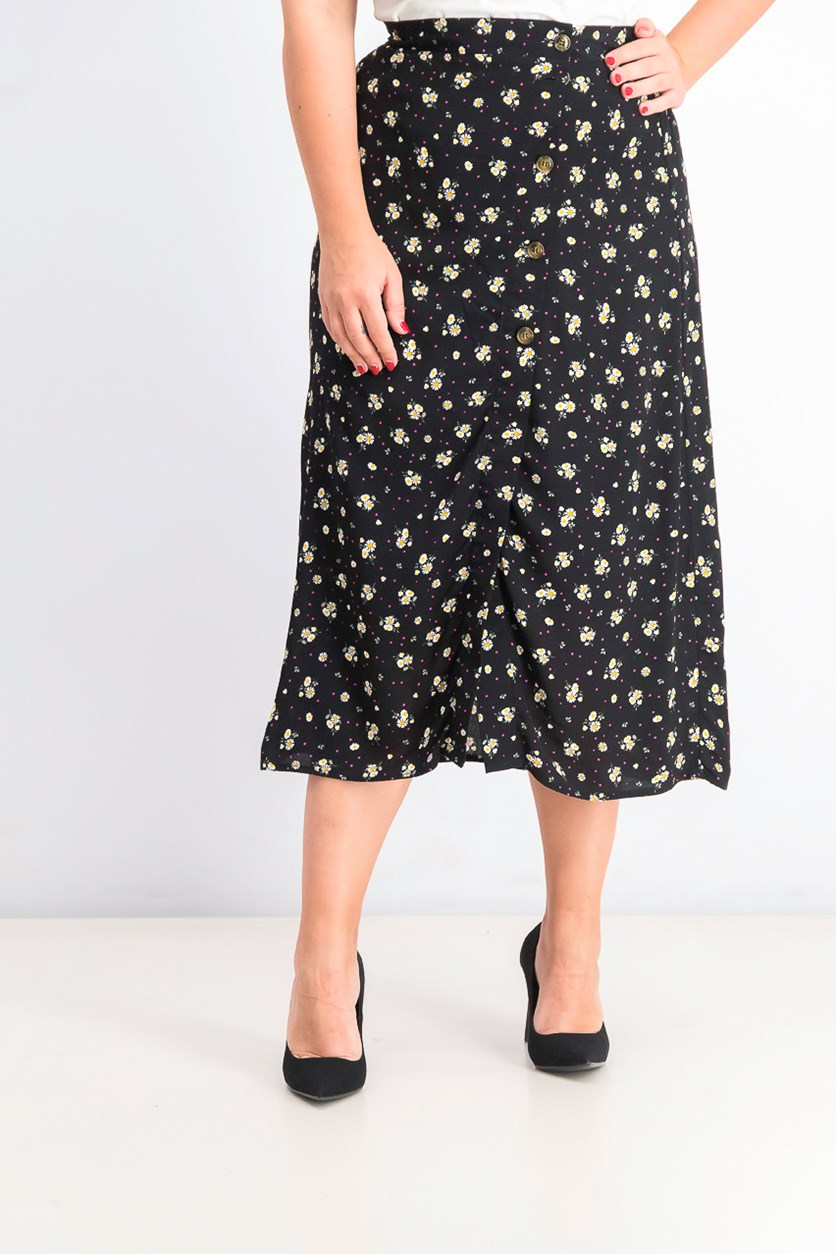 Juniors' Printed Button-Front Midi Skirt, Ditsy Daisy