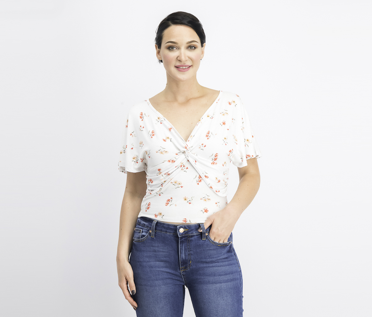 Women's Printed Knot-Front Top, White/Peach Melba