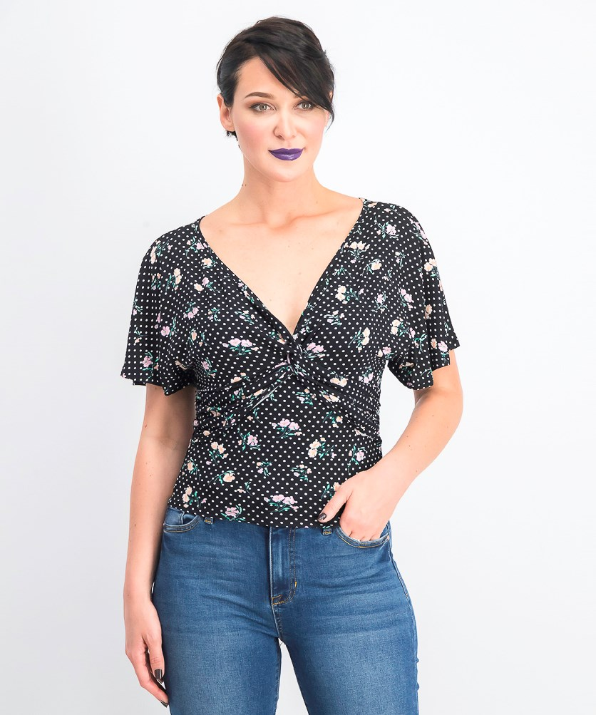 Women's Printed Knot-Front Top, Black/Peach Melba