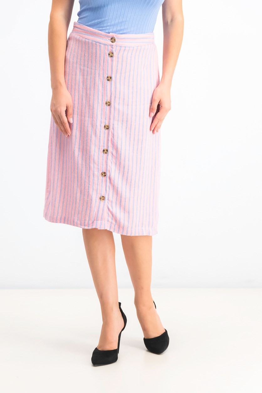 Women's Striped Button-Front Skirt, Sunkist Coral