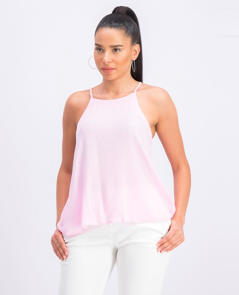Juniors' Back-Tie Tank Top, Light Pink