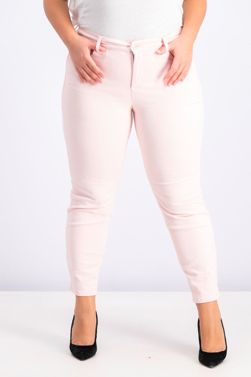 Plus Size Bristol Tummy-Control Ankle Jeans, Misty Pink