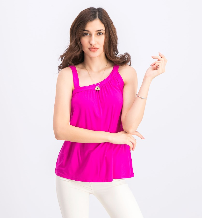 Women's Asymmetric-Neck Sleeveless Top, Magenta