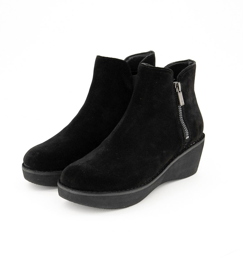 Women's Prime Platform Bootie with Side Zip Ankle Boot, Black