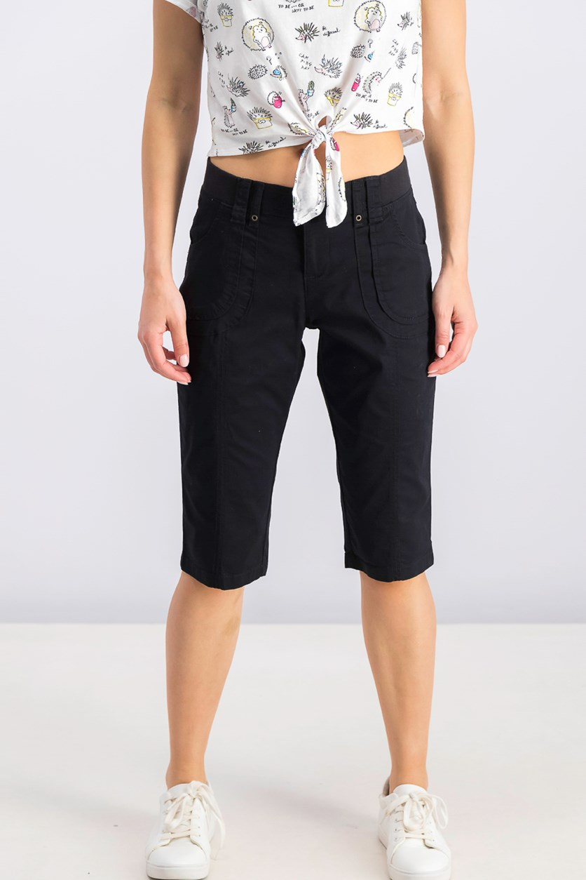 Petite Patch Pocket Capri Pants, Black