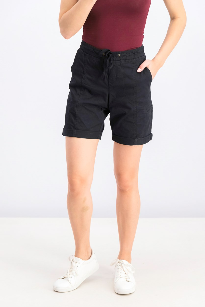 Womens Mid Rise Shorts, Black