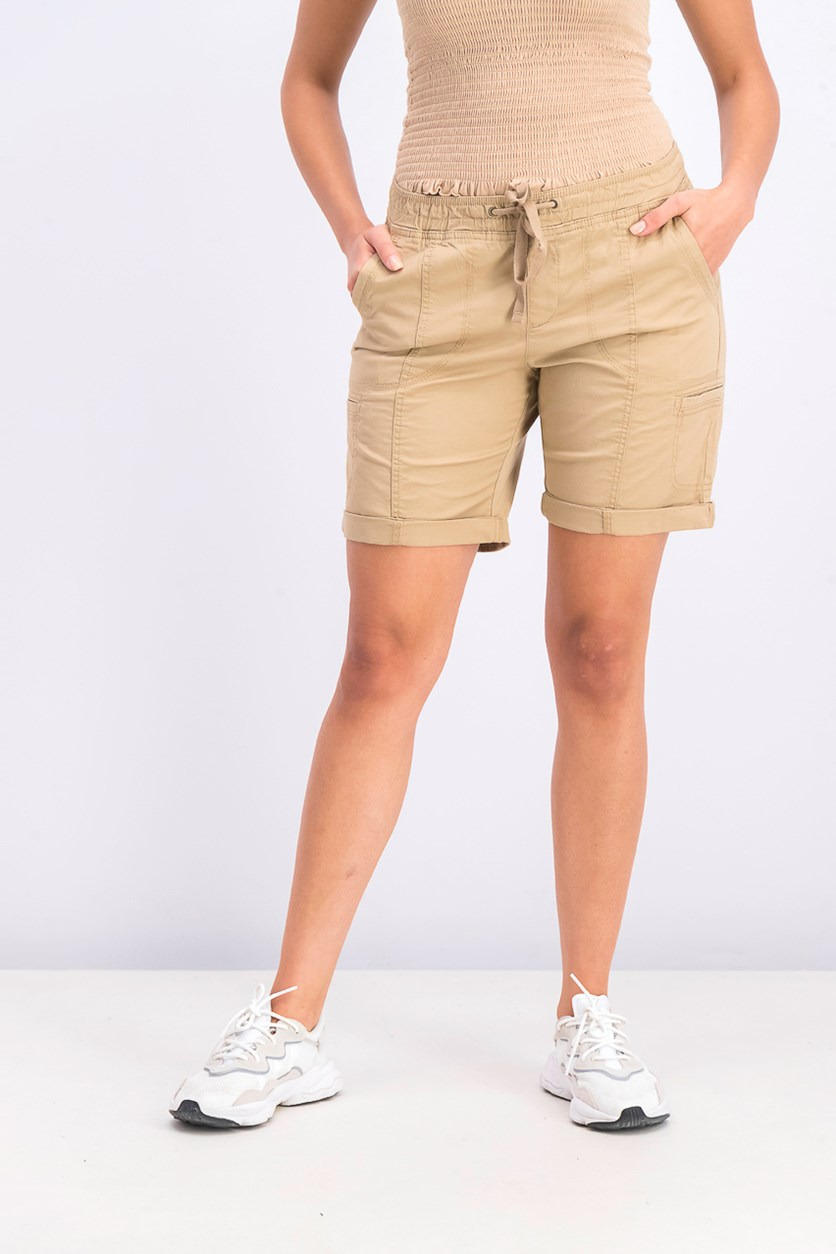 Women's Platinum Petite Cargo Shorts, Tan