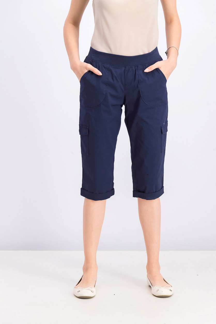 Petite Pull-on Cargo Capri Pants, Navy
